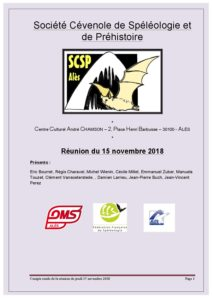 SCSP Association cévenole de spéléologie ( et de préhistoire) à Alès dans le Gard.